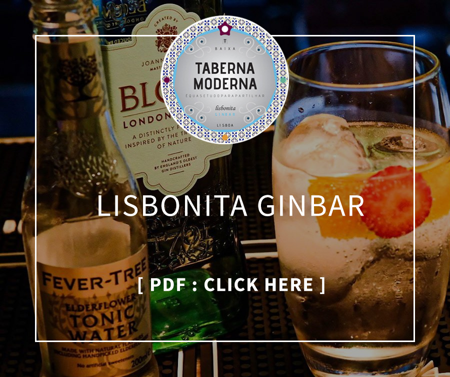 Menu Lisbonita Ginbar, Taberna Moderna, restaurant with terrace in Lisbon