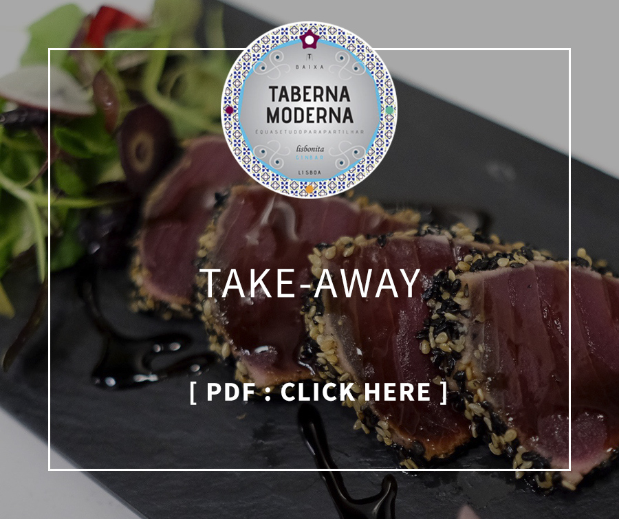 Menu Take-Away, Taberna Moderna, restaurant with terrace in Lisbon